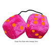 3 Inch Hot Pink Furry Dice with Orange Dots