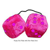 3 Inch Hot Pink Furry Dice with Hot Pink Dots