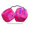 3 Inch Hot Pink Furry Dice with Royal Purple Dots