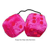 3 Inch Hot Pink Furry Dice with Red Dots