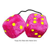 3 Inch Hot Pink Furry Dice with Yellow Dots