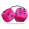 3 Inch Hot Pink Furry Dice with BLACK GLITTER DOTS