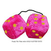 3 Inch Hot Pink Furry Dice with GOLD GLITTER DOTS