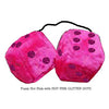 3 Inch Hot Pink Furry Dice with HOT PINK GLITTER DOTS