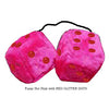 3 Inch Hot Pink Furry Dice with RED GLITTER DOTS