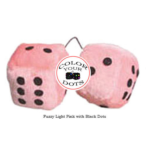 4 Inch Light Pink Fuzzy Car Dice with Black Dots