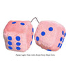 3 Inch Light Pink Fuzzy Car Dice with Royal Navy Blue Dots