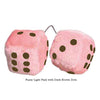 3 Inch Light Pink Fuzzy Car Dice with Dark Brown Dots