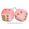 3 Inch Light Pink Fuzzy Car Dice with Light Brown Dots
