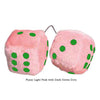 3 Inch Light Pink Fuzzy Car Dice with Dark Green Dots