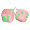 3 Inch Light Pink Fuzzy Car Dice with Lime Green Dots