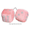 3 Inch Light Pink Fuzzy Car Dice with Grey Dots