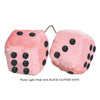 3 Inch Light Pink Fuzzy Car Dice with BLACK GLITTER DOTS