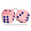 3 Inch Light Pink Fuzzy Car Dice with ROYAL NAVY BLUE GLITTER DOTS