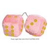3 Inch Light Pink Fuzzy Car Dice with GOLD GLITTER DOTS
