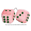 3 Inch Light Pink Fuzzy Car Dice with DARK GREEN GLITTER DOTS
