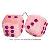3 Inch Light Pink Fuzzy Car Dice with HOT PINK GLITTER DOTS