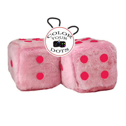 3 Inch Pink Fuzzy Car Dice