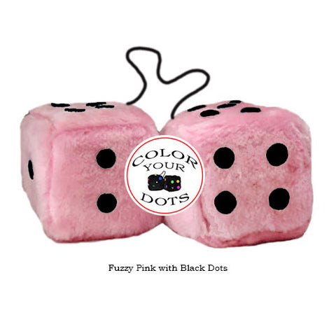 4 Inch Pink Fuzzy Car Dice with Black Dots