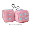 4 Inch Pink Fuzzy Car Dice with Light Blue Dots