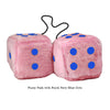 4 Inch Pink Fuzzy Car Dice with Royal Navy Blue Dots