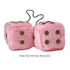 4 Inch Pink Fuzzy Car Dice with Dark Brown Dots