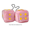 4 Inch Pink Fuzzy Car Dice with Goldenrod Dots