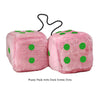 4 Inch Pink Fuzzy Car Dice with Dark Green Dots