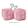 4 Inch Pink Fuzzy Car Dice with Grey Dots