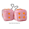 4 Inch Pink Fuzzy Car Dice with Orange Dots