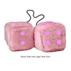 4 Inch Pink Fuzzy Car Dice with Light Pink Dots