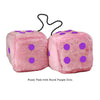 4 Inch Pink Fuzzy Car Dice with Royal Purple Dots