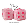 4 Inch Pink Fuzzy Car Dice with Red Dots
