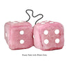 4 Inch Pink Fuzzy Car Dice with White Dots