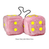 4 Inch Pink Fuzzy Car Dice with Yellow Dots