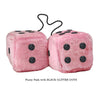 4 Inch Pink Fuzzy Car Dice with BLACK GLITTER DOTS