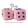 4 Inch Pink Fuzzy Car Dice with ROYAL NAVY BLUE GLITTER DOTS