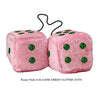 4 Inch Pink Fuzzy Car Dice with DARK GREEN GLITTER DOTS