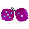 3 Inch Pinky Purple Fluffy Dice with Light Blue Dots