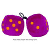 3 Inch Pinky Purple Fluffy Dice with Orange Dots