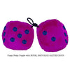3 Inch Pinky Purple Fluffy Dice with ROYAL NAVY BLUE GLITTER DOTS