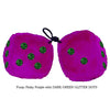 4 Inch Pinky Purple Plush Dice with DARK GREEN GLITTER DOTS