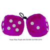 3 Inch Pinky Purple Fluffy Dice with SILVER GLITTER DOTS