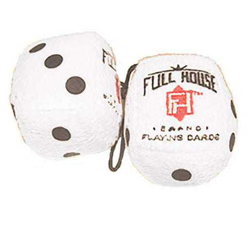 "3 Inch White ""FULL HOUSE"" Poker Furry Dice"