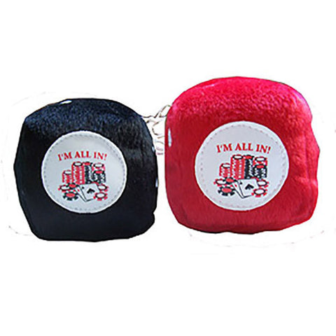 "3 Inch Poker ""I'M ALL IN"" fuzzy dice"