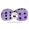 3 Inch Lavender Purple Fuzzy Dice with Black Dots