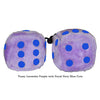 3 Inch Lavender Purple Fuzzy Dice with Royal Navy Blue Dots