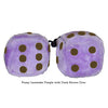 4 Inch Lavender Purple Fluffy Dice with Dark Brown Dots