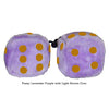 4 Inch Lavender Purple Fluffy Dice with Light Brown Dots