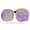 4 Inch Lavender Purple Fluffy Dice with Goldenrod Dots